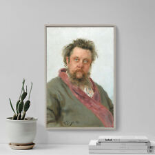 More details for ilya repin - portrait composer petrovich mussorgsky (1881) poster painting print