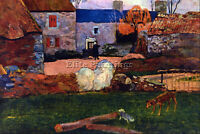 FARM AT THE POULDU BY GAUGUIN ARTIST PAINTING REPRODUCTION HANDMADE OIL CANVAS