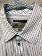 Jhane Barnes Slim Fit Button Front Shirt Men's XL Stripped Long Sleeve Dress