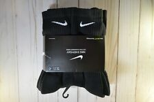 Nike 6 Pair Pack Black Cushioned Crew Socks SX7666 010 Men's Size Large 8-12