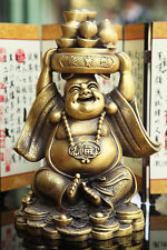 "10"" China Copper Bronze Yuan Bao Treasure Bowl Laughing Maitreya Buddha Statue"