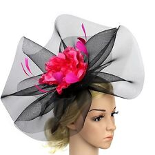 STUNNING PINK & BLACK CRINOLINE FASCINATOR WITH LARGE PINK FLOWER AND FEATHERS