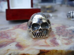Early American vintage sterling silver skull ring, sz 11.5