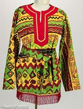 Hippie Top 60's 2 Pc Red Gr Yell & Blk Cotton V-Neck Fringed Shirt & Headband MD