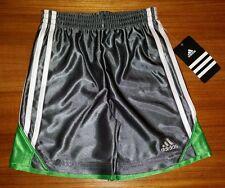 $24 Adidas Boys SIZE 4 Athletic Shorts GRAY GREEN Prime Dazzle Short    3601114K
