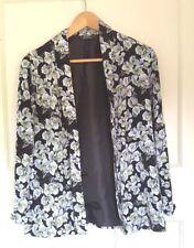 Miss Selfridge Petites Black White Yellow Floral Blazer Waterfall Jacket Size 8