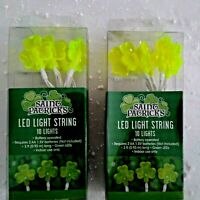 (2 Sets) St. Patricks Day Decorations 3 Feet LED Light String Shamrocks Wreath