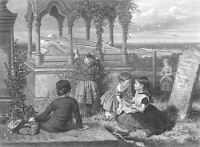 KIDS PUT FLOWERS on GRAVE TOMB OF HERO SAVIOR GIRL, Old 1872 Art Print Engraving