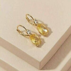 ANTHROPOLOGIE Yellow Crystal And Gemstone Drop Earrings BNWT