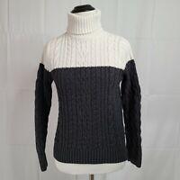 Jeanne Pierre Turtleneck Long Sleeve Knitted 2 Tone Sweater Size Small
