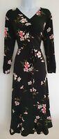 Womens Sosandar Black Floral Ruched Frilly Hem Stretch Belted Midi Tea Dress 12
