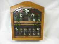 Vintage Wood & Decorative Stained Glass Spice Rack & 12 Bottles Jay Imports (JH)