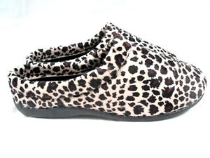 LADIES NEW  LEOPARD MULE SLIPPERS VELOUR SLIP ON HOUSE SHOE SIZE 3 - 8