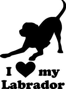 "I Love My Labrador vinyl decal sticker 6"" x 4.5"" Retriever Dog Yellow Lab - play"