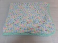 Classic Vintage Inspired Knit Pastel Green Trim Nursery Neutral Baby Blanket
