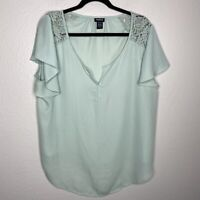 Torrid V Neck Flutter Sleeve Lace Detail Blouse Solid Flowy Relaxed Fit Sz 1X
