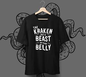 KRAKEN RUM T-Shirt - Put a Beast in your Belly - Caribbean black spiced rum Gift