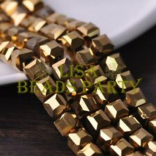 New 10pcs 10mm Cube Square Faceted Crystal Glass Loose Spacer Beads Gold Plated