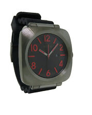 Nixon A118 131 The Volta PU Men's Cushion Gun Metal Analog Date Silicone Watch