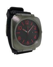Nixon A118 131 The Volta PU Men's Cushion Gun Metal Analog Date Silicone Watch
