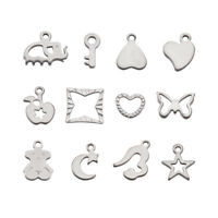 20 x Mixed 304 Stainless Steel Charms Pendants Crafts 7~13x6~12x1mm Hole 1~3x5mm