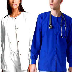 Medical Nursing Dental Long Sleeve Jackets Lab Coat Scrub Top Women Men Unisex