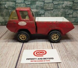 """Vintage 1970s Tonka Toy Truck Pressed Metal Red Pickup 8 1/2"""" Fire Hose Truck"""