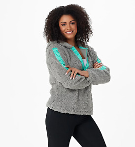 MUK LUKS Faux Sherpa Half Zip Topper with Contrast Satin Grey XL A384779