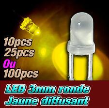 203D# LED 3mm ronde diffusant  jaune dispo 10, 25, 100 ou 1000pcs -- yellow LED