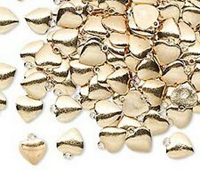 Gold Heart Charms 6mm Tiny Drops Love Jewelry Scrapbook Lot of 50