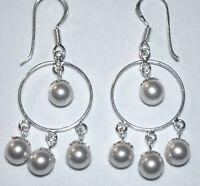 925 ECHT SILBER *** Perlen Ohrringe 40 mm