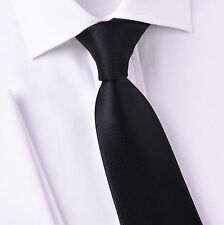 "Plain Black 3"" Inch Wide Tie Luxury Designer Fashion Necktie Sexy Mens Accessory"