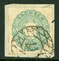 Germany 1863 Saxony 5ngr Grey Blue SG #45 G264 ⭐⭐⭐⭐⭐
