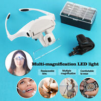 5 Lens Headset Magnifier Magnifying Glass LED Hand Free Eyelash Extension Tool