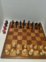"""Vtg Antique Chess Large Board English 2"""" Squares Staunton Felted Pieces Checkers"""