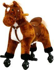 4-Wheel Rocking Horse Kids Ride on Toy Walking Pony w/ Sound Children Gift Brown