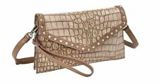 Sydney Love Faux Crocodile Taupe Clutch Bag Removable Wristlet & Crossbody Strap