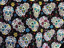 Dia De Los Muertes Skulls BLACK 100% Cotton Folk Mexican Latin Goth Hipster Punk