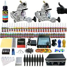 Complete Tattoo Kit 2 Machine Gun Set Equipment Power Supply UK 54 Color Inks