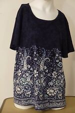 Take Two Top~Size XL~Blue~Floral~Sequins~Short Sleeve~Boat Neck~VGC