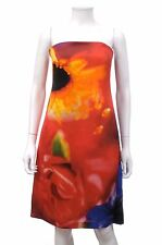 Celine Silk Strapless Abstract Floral Dress / Red, Orange