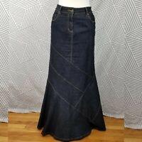 Bisou Bisou Denim Maxi Skirt 12 Stretch Modest Tiered Mermaid Trumpet Blue Jean