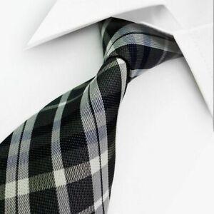 SMART GENTS TIE > Classic Mens Black White Grey Striped Pattern Silk Necktie