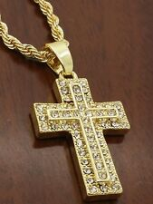 "Men's 1"" cz   gold tone  cross 24"" rope chain necklace"