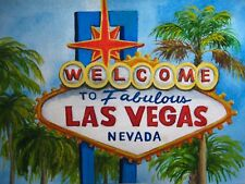 Watercolor Painting Road Sign Las Vegas Casino Palm Tree Nature Art 5x7