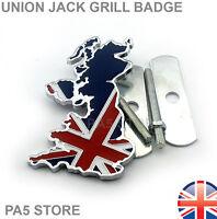 Union Jack Grill Badge GB MAP Metal Chrome Universal Car Van Truck Classic UK