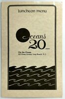 1970's Original Laminated Menu OCEANS 20 Long Branch New Jersey - On The Ocean