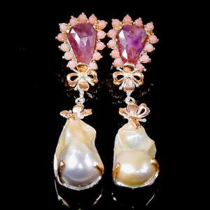 Handmade Baroque Pearl Earrings Silver 925 Sterling   /E51947