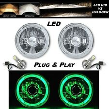 5-3/4 Green LED Halo Angel Eye Crystal Clear Headlight w/ 6k LED Light Bulb Pair