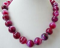 "10mm Natural Pink round Striped agate gemstone necklace 18"" JN106"